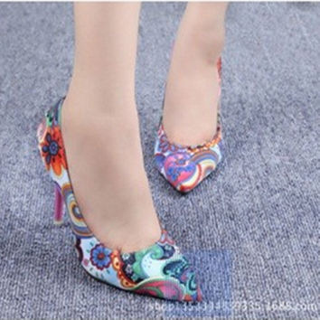 Ladies Sexy cotton fabric appliques printing leather pointed toe Cover heel  thin high heel shoes women pumps big size11 12girls