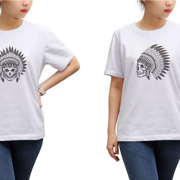 Women Skull wear indian headdress Printed T-shirt WTS_17