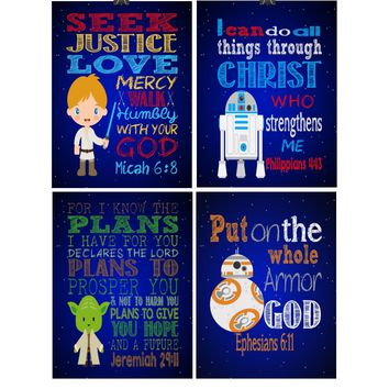 Star Wars Christian Nursery Art Decor Set of 4 Prints, Luke Skywalker, Yoda, BB-8 and R2D2 with Bible Verses