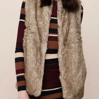 Brown Sleeveless Fur Coat