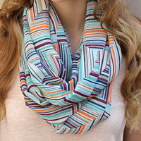 Geometric Scarf, Infinity Scarf, Circle Scarf, Eternity Scarf, Mint Green, White, Orange, Raspberry