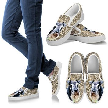 Schnauzer Dog Print Slip Ons For Women-Express Shipping