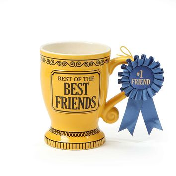 """Our Name is Mud """"Best of the Best Friends"""" Blue Ribbon Trophy Stoneware Coffee Mug, 16 oz."""
