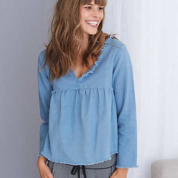 Aerie Frayed Peasant Top, Jeweled Blue