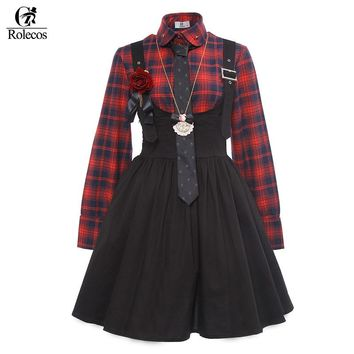 Rolecos Brand Black Red Lolita Dress Japanese Harajuku Cosplay Costume Red Black Plaid Shirt Sweet Princess Maid Dress Costumes