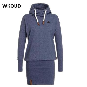 WKOUD 2017 New Spring Dress Women Hooded Hoodies Dresses Sweatshirt Ladies Bodycon Hoodies Pullovers Tunic Dress L8390