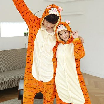 Wedtrend Cute Tiger Onesuits Adults Flannel Pajamas Animal Costumes Adult Cute Cartoon Animal Sleepwear Nightgowns Unisex Pyjamas