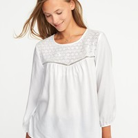 Relaxed Lace-Yoke Top for Women | Old Navy