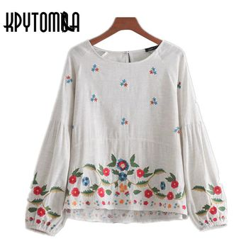 Vintage Ethnic Floral Embroidered Blouse Shirt Women 2017 New Fashion Long Puffy Sleeves Back Button Blouses Casual Blusas Mujer