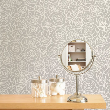 Flower Wall Stencil Rockin Roses Floral Damask Stencil for Custom Modern Wallpaper Effect Includes FREE Ceiling Stencil