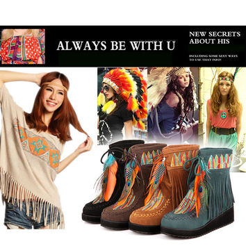 Indian Style Retro Fringe Boots Flock Chunky Feather Women Ankle Short Boots Tassels Big Size Shoes Plus Size 34-43 AA555