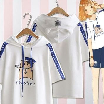 Kawaii Mori Girl Policemen Printed T-shirt