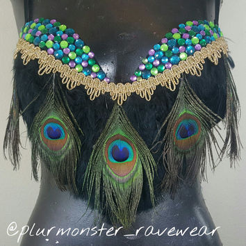 Peacock rave bra- gold queen peacock festival bra- black and gold peacock rave top