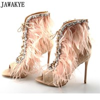 Crystal Feather Peep Toe Ankle High Heels