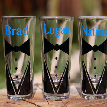 7 Custom Groomsmen Shot Glasses Tux with Name Wedding Gifts Groomsmen Gifts Bachelor Parties Wedding Party Groom Personalized Shot Glass