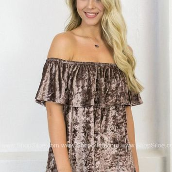 Velvet Plum Off Shoulder Top