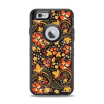 The Colorful Floral Pattern with Strawberries Apple iPhone 6 Otterbox Defender Case Skin Set