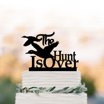The Hunt is over Wedding Cake topper with ducks, funny wedding cake toppers, unique cake topper