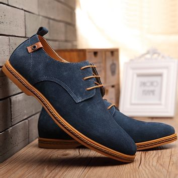 Mens Casual Dress/Formal Oxfords Shoes Wing Tip Suede Leather Flats Lace Up Big Size Shoes