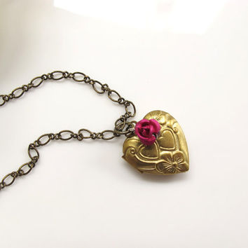 Vintage Style Brass Heart Locket, Pink Rose Pendant, Photo Trinkets locket, Love Gift. Love keepsake