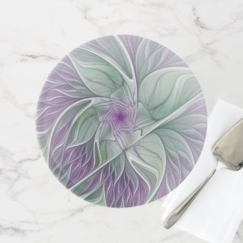 Flower Dream, Abstract Purple Green Fractal Art Cake Stand