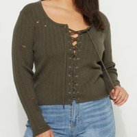 Plus Olive Ripped Lace Up Crop Sweater