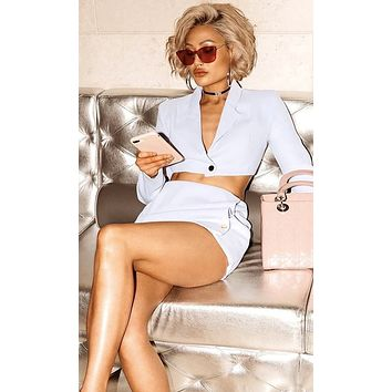 Two Perfect White Long Sleeve V Neck Blazer Crop Top Button Mini Skirt Two Piece Bodycon Dress
