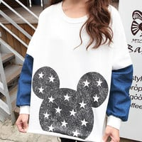Denim sleeve star mickey mouse printed sweatshirt, white hoodie, women t shirt, tee