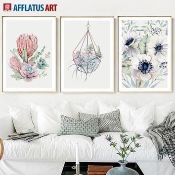 Watercolor Cactus Flower Nordic Poster Wall Art Canvas Painting Posters And Prints Wall Pictures For Living Room Bedroom Decor