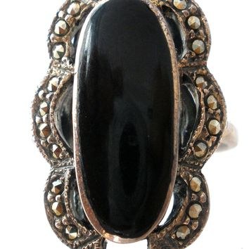 Sterling Silver Black Onyx Rings with Marcasites