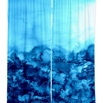 TURQUOISE Art Window Curtains Multiple Sizes Abstract Nature Watercolor Indigo Blue Home Decor Bedroom Kitchen Lined Unlined Woven Fabric
