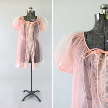 Vintage 1960s Pink Babydoll Nightie -  Size Small Medium Sheer Negligee Dress Clothing / Retro Lingerie