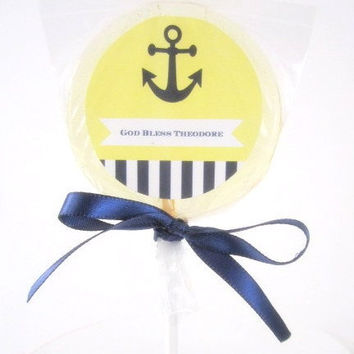 20 Nautical Theme Gourmet Lollipops - Custom Lollipops - Navy - Baby Shower - Anchor - Nautical Party - Navy Blue and Yellow Party Favors