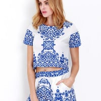 Blue White Short Sleeve Floral Crop Top With Shorts Suits | MakeMeChic.COM