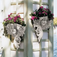 "15"" Classic Art Nouveau Antique Replica Greenman Garden Wall Font Planter Set"