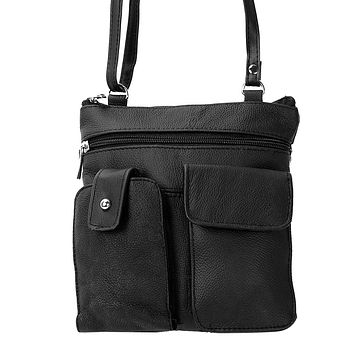 Soft Leather Two Front Purse Black Color Cross-body Style