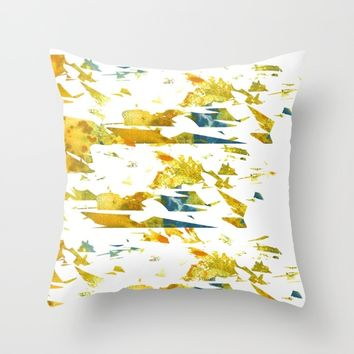 Abstract Acrylic Painting Broken Glass YELLOW Throw Pillow by Saribelle Inspirational Art | Society6