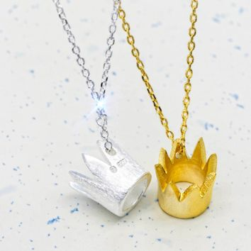 fashion little crown Brushed gold plated  S925 necklace -171206