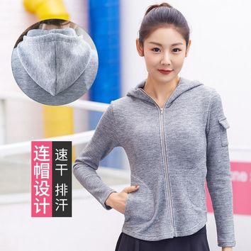 Woman Yoga Jacket Outdoor Running Fitness Coat Show Thin WT549