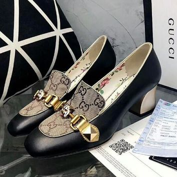 GUCCI Fashion Women Retro Metal Buckle Thick High Heels Single Shoe I12700-1