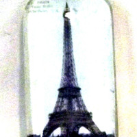 1x2 domino sized Eiffel Tower Paris Glass Pendant Necklace