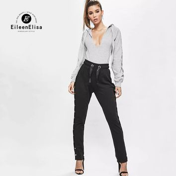Eileen Elisa Women Gray Jumpsuit Rompers Bodycon Women Sexy Deep V-neck Hooded Bodysuits With Button Sleeves