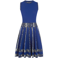 Alexander McQueen Snake Jacquard Flared Dress