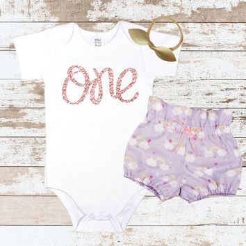 Rose Gold One Purple Rainbow Bloomers Outfit