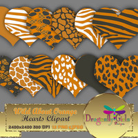 "80% OFF Sale WILD About Orange Hearts 8"" clipart, commercial use, digital scrapbook papers, vector graphics, printable, Instant Download'"