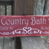Bath sign, Olde country Bath Sign, red with scrolling, distressed and painted to give the look of an old sign