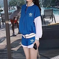 """Adidas"" Women Sport Casual Multicolor Stripe Zip Cardigan Long Sleeve Shorts Set Two-Piece Sportswear"