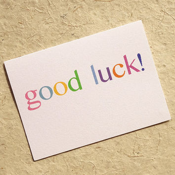 Good luck card, this pastel thinking of you card is simplicity itself, blank inside for your own personal message
