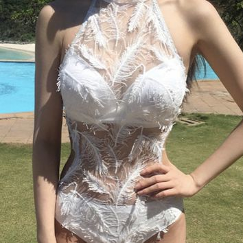 2017 stereo feather hollow swimsuit