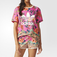 """Adidas"" Retro Multicolor Floral Letter Print Round Neck Short Sleeve T-shirt"
